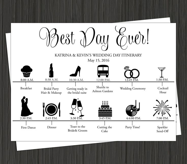 Wedding Day Itinerary Printable-Wedding Day Timeline
