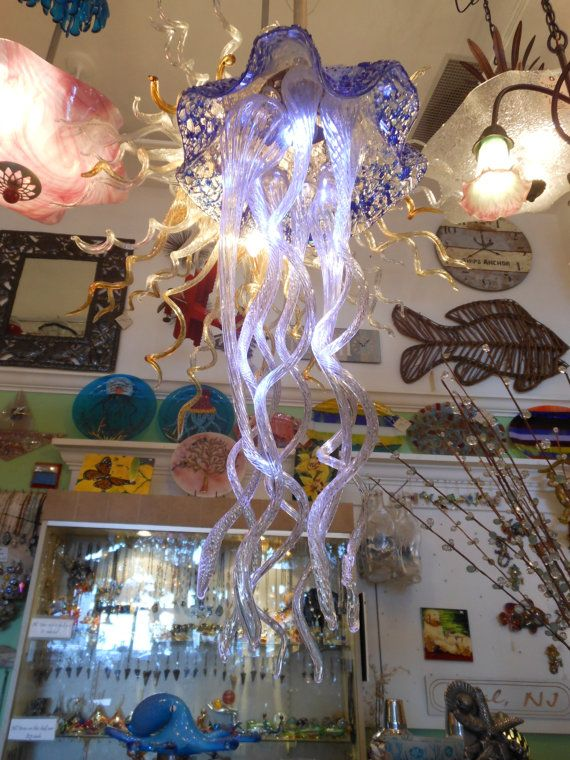 Jellyfish Chandelier by PrimoGlass on Etsy,