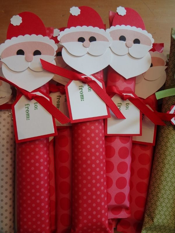 Candy Bars ~ No tutorial but very cute idea! There are also Thanksgiving Turkeys, Angels, Grinches and  Rudolphs