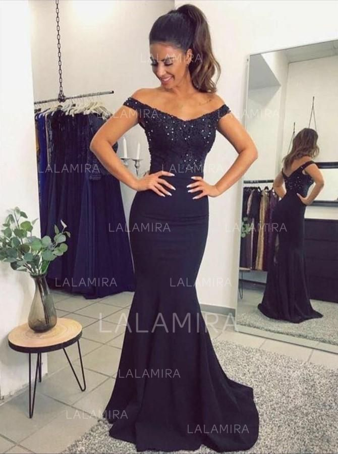 3a511412537 Trumpet Mermaid Off-the-Shoulder Sweep Train Evening Dress With Beading  (017210041) - Evening Dresses  210041 - lalamira