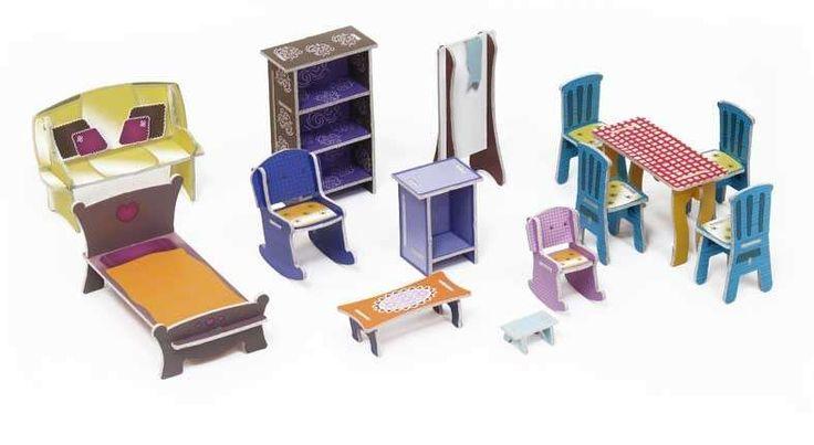 Case delle bambole fai da te di cartone - Mobili di cartoncino