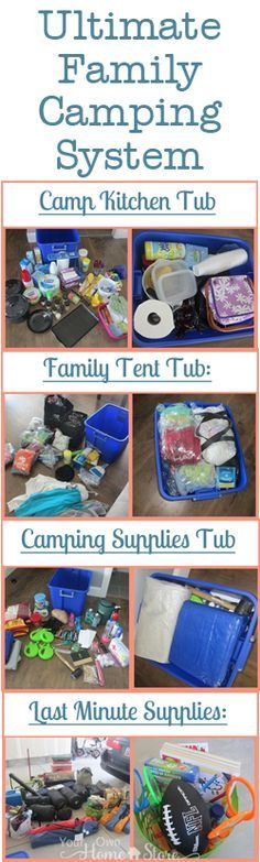 Ultimate Family Camping List with printable lists and system--- kinda what we already do; but has good checklists to look at