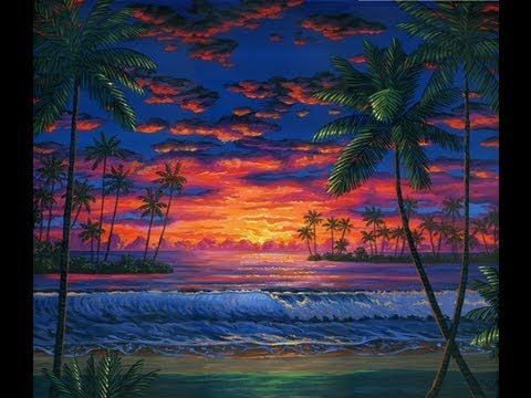 How to paint a tropical beach at sunset with acrylics on canvas, art painting lesson