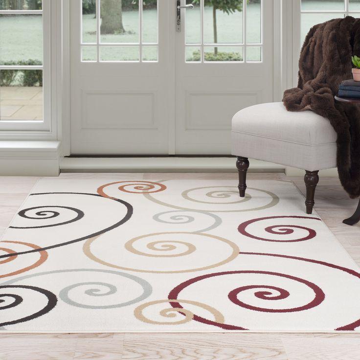 rug for living room size%0A Windsor Home Modern Swirls Area Rug x  Swirl Rug   Ivory  Size x  Jute   Geometric