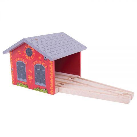 Bigjigs Rail dřevěné vláčkodráha - Cihlové depo pro dva vláčky