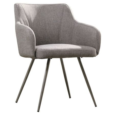 With exposed metal legs and tweed-inspired upholstery, this eye-catching accent chair brings distinctive style to your foyer or living room seating group. $120