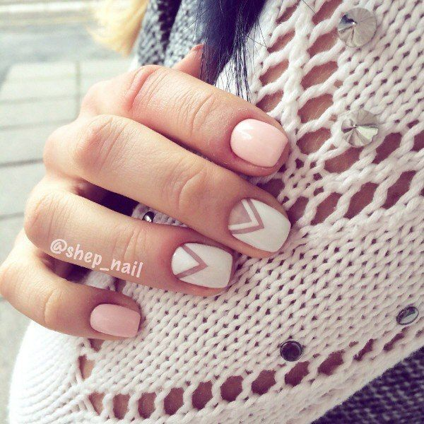 Negative space nude and white nails - Best 25+ Line Nail Art Ideas On Pinterest Line Nail Designs