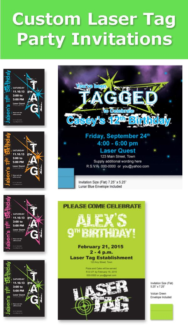 Laser tag party ideas - custom laser tag invites and matching laser tag glow in the dark t-shirts #invitation #invites #custominvites #LaserTag  #lasertagpartyideas  #lasertagparty #glow #glowinthedark #GlowInTheDarkParty #gitd #birthdayparty