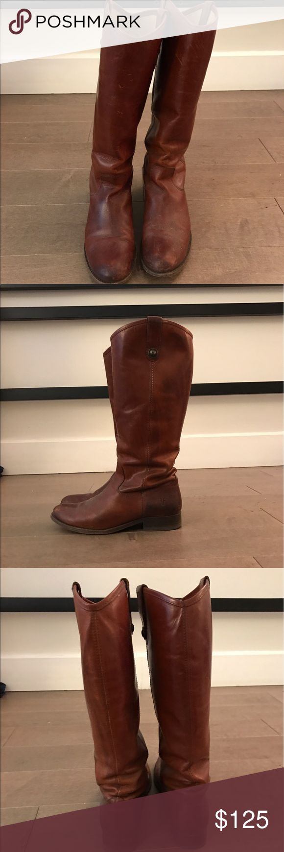 Frye Melissa Boot, Cognac, 7.5 Frye Melissa boot in 7.5. Beautiful cognac leather with natural color variation and lightly worn soles. Interior is broken in already for comfort. Frye Shoes