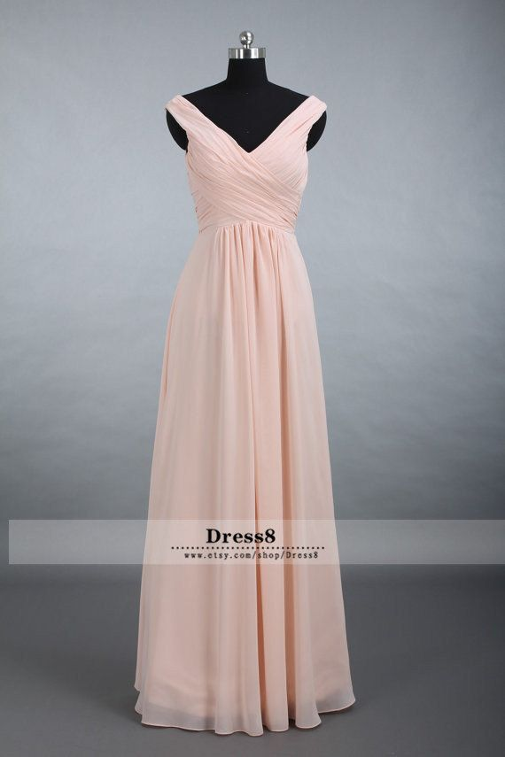 Custom Elegant Chiffon Bridesmaid Dress, Straps V-neck Floor Long Chiffon Bridesmaid Dress A-line Blush Bridesmaid Dresses on Etsy, $109.00
