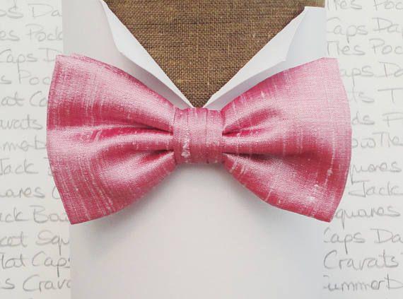 Pink silk bow tie bow ties for men bow ties UK silk dupion