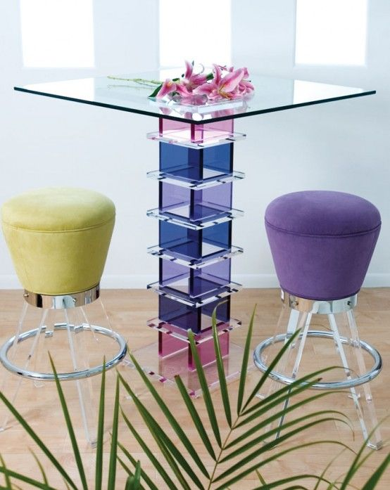 Beautiful Glass Bar Tables by H.studio - wow that's so pretty!