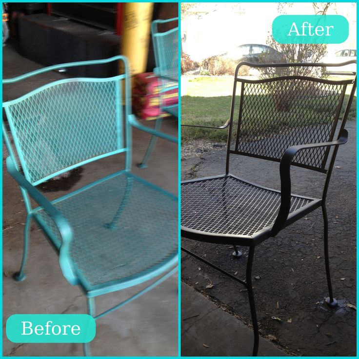 Scarp off rust, lightly sand and spray paint!  Patio Furniture Redo- just need outdoor pillows!