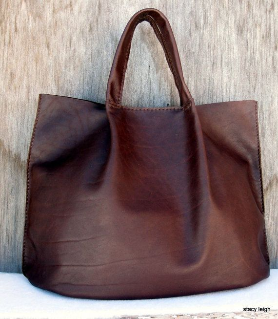 Distressed Brown Cowhide Leather Rustic Harness Tote Bag by Stacy ...