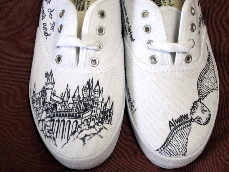 Custom Harry Potter Canvas Sneaker. $70.00, via Etsy.  I could definitely do something like this! The castle drawing would be intense though...