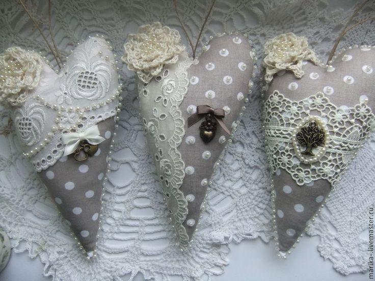 GRAY POLKA DOT FABRIC AND LACE HEARTS - Валентинки - серый,бежевый,лен,кружево,сердце,сердечко,подвеска,подарок