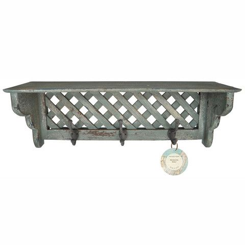 Solid Wood Distressed Wall Shelf with Hooks – lightaccents.com
