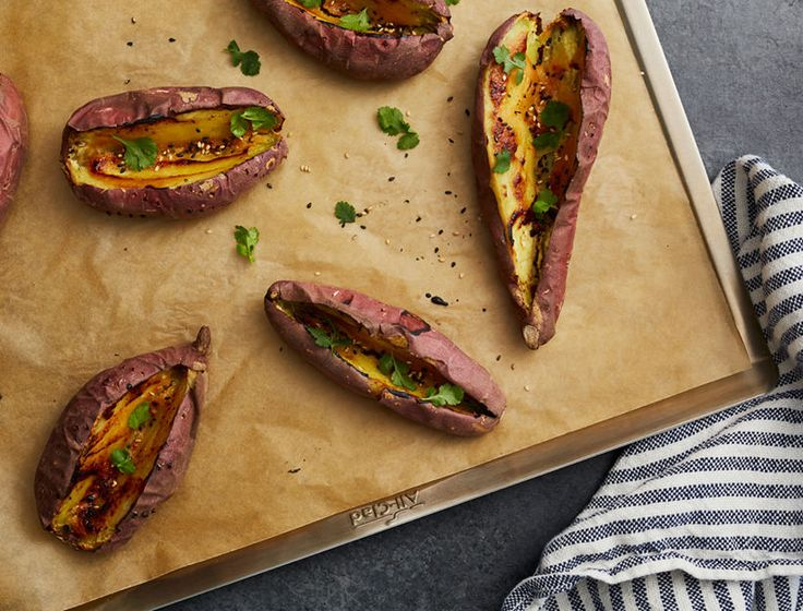 These potatoes are a super tasty and easy addition to any meal. They're also great to make ahead for our miso sweet potato collard wrap or to eat as a snack.
