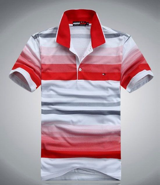 2013 New Mens Tommy Hilfiger Fashion Red Polo Shirt - Designer Outlet UK