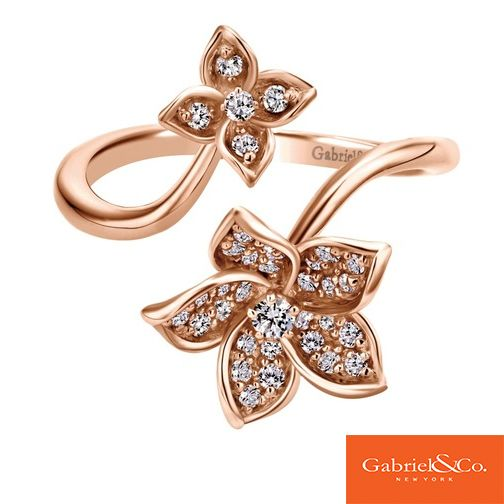 Unique open flower design | 14k Pink Gold Diamond Ring by Gabriel & Co. | Rose Gold Rings Jewelry | Gabriel & Co. Rings