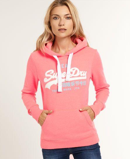 Womens - Vintage Logo Hoodie in Neon Pink   Superdry