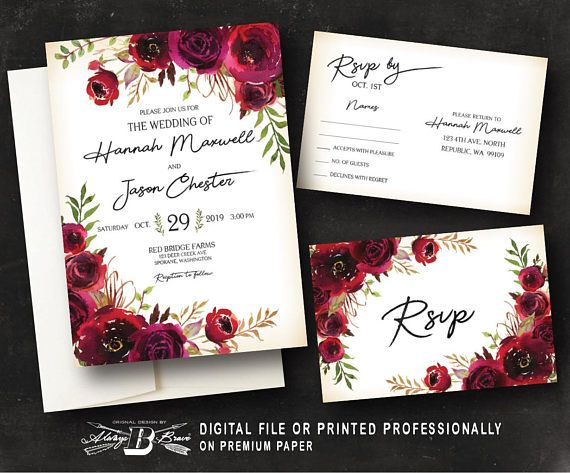 Red Burgundy Floral Wedding Invitation Rustic Wedding Etsy Floral Wedding Invitations Printing Wedding Invitations Digital Wedding Invitations