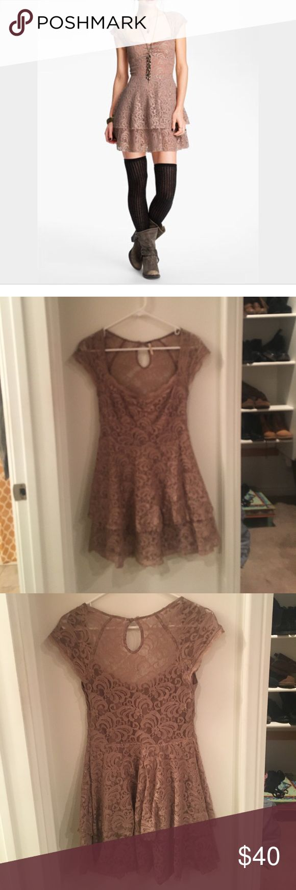 Free People Lace Dress Free People Lace Peephole dress. Gently used has some wear but in good condition. Free People Dresses Mini