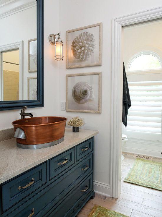 likeBlue Cabinets, Bathroom Design, Cabinets Colors, Cabinet Colors, Contemporary Bathrooms, Copper Sinks, Nautical Bathroom, Bathroom Ideas, Hall Bath