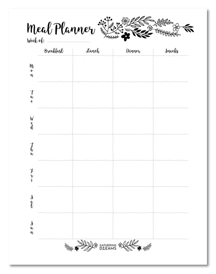 4 meal planner templates to save 500m free download