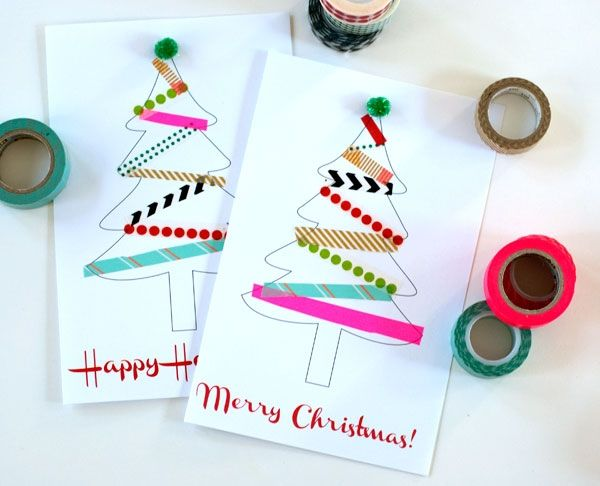 Washi Tape Tree Cards