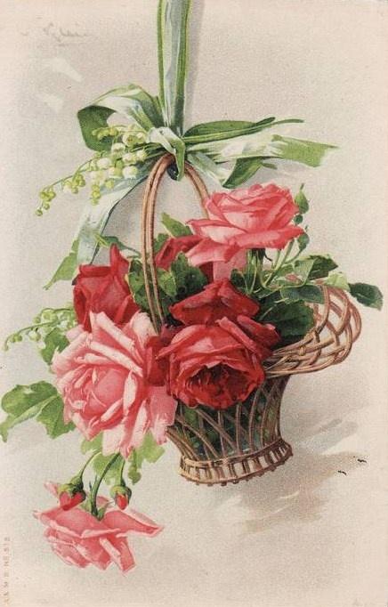 Vintage roses in basket