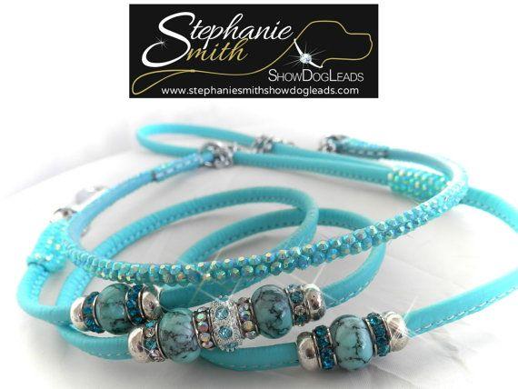 show lead with beads and crystal collar www.stephaniesmithshowdogleads.com