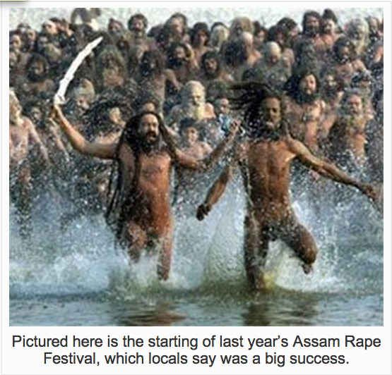 The website also published a picture which was captioned as last year's rape festival in Assam. | An American Website Wrote A Satirical Article About An Indian Rape Festival And Many People Thought It Was Real