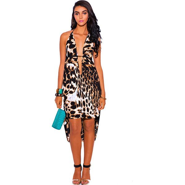 Leopard animal print bejeweled deep v neck high low babydoll midi... ($25) ❤ liked on Polyvore featuring dresses, animals, beach cocktail dresses, white high low dress, white beach dresses, midi cocktail dress and evening cocktail dresses