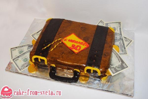 Торт в виде чемодана с деньгами - супер подарок! Ведь каждый из нас мечтает получить в подарок чемодан с деньгами, ну раз настоящий мало кому доступен, так пусть это будет хотя бы торт ;)