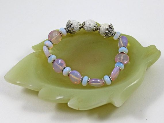 Pink and White Opaline Healing Bracelet by AlwaysBeadBeautiful