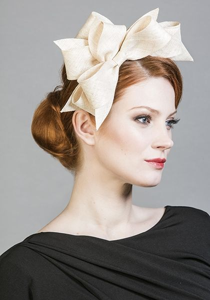 Rachel Trevor Morgan Millinery SS 2016 | R1699 - Natural fine straw bows on Alice band