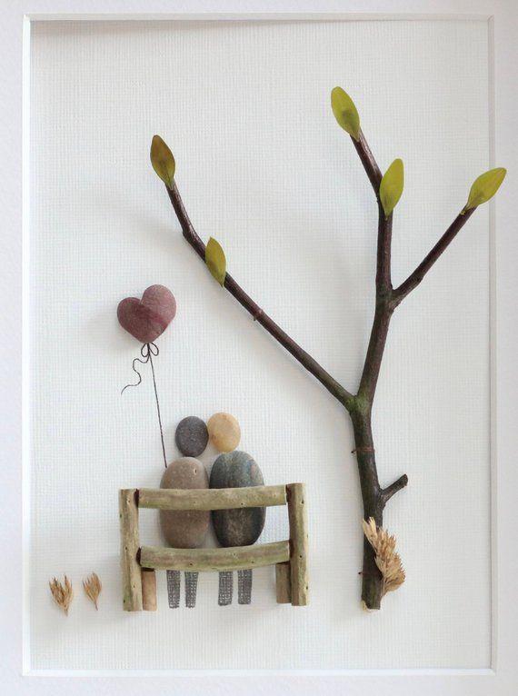 Kiesel Kunst Bild saß paar auf eine Bank, Valentinstag Geschenk, Kiesel Kunst Paar, Kiesel Bild Jahrestag Bild