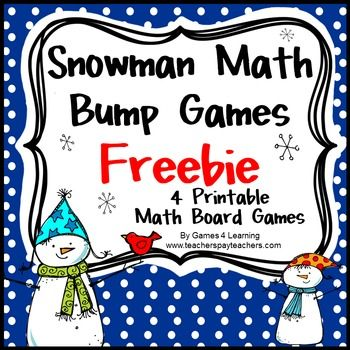 Winter Math Games: Snowman Math Bump Games Freebie