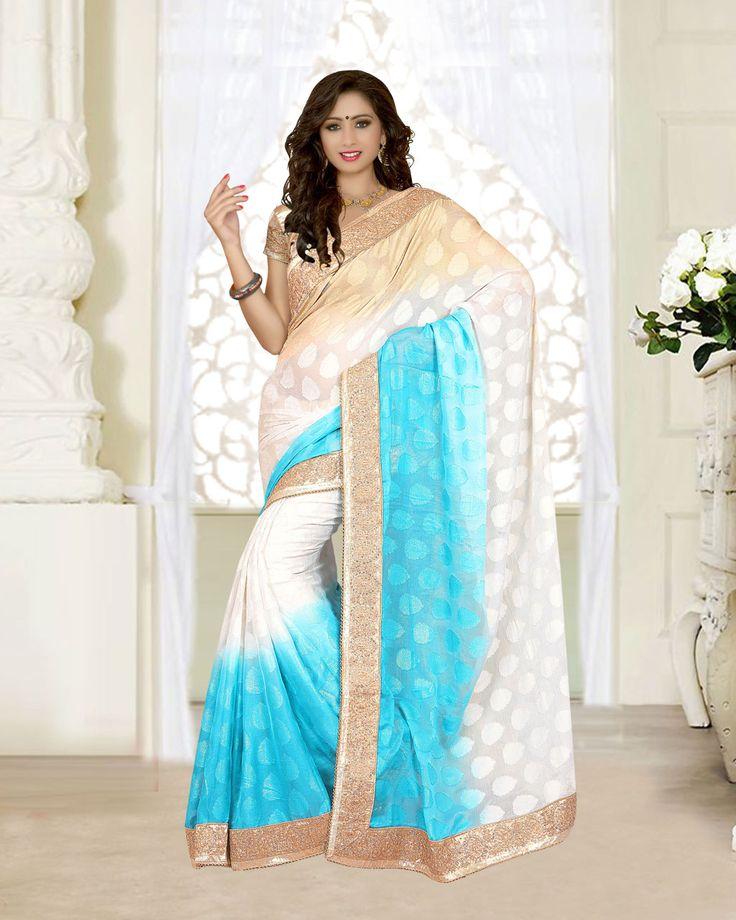 Beige Georgette Jacquard Wedding Saree 63534  #WeddingSarees #OnlineShopping