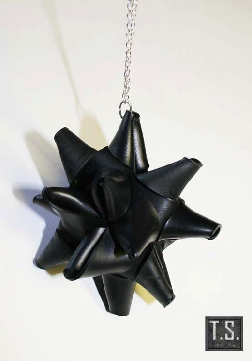 Christmas Star made from recycled rubber