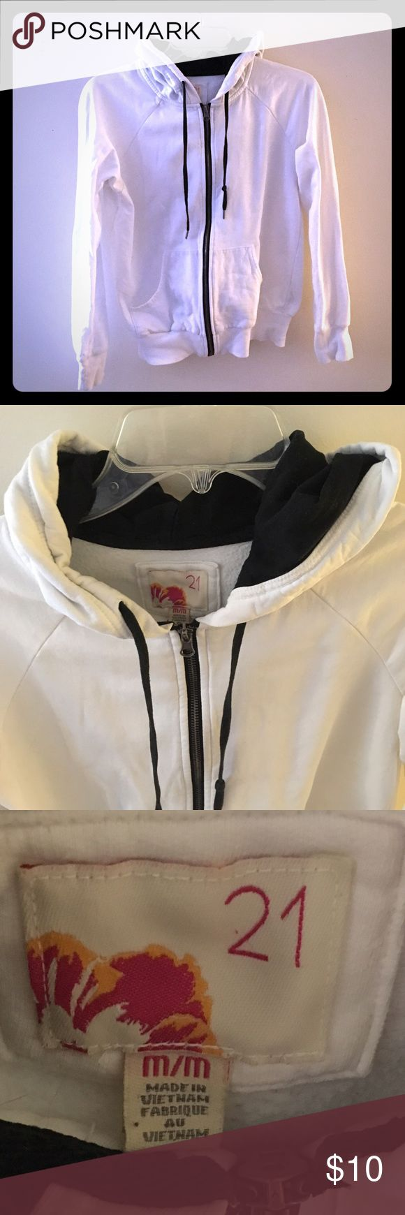 White Hoodie - Forever 21 Comfy white with white hoodie w/ black zipper, draw string and interior of hoodie. from Forever 21. Excellent condition Forever 21 Tops Sweatshirts & Hoodies