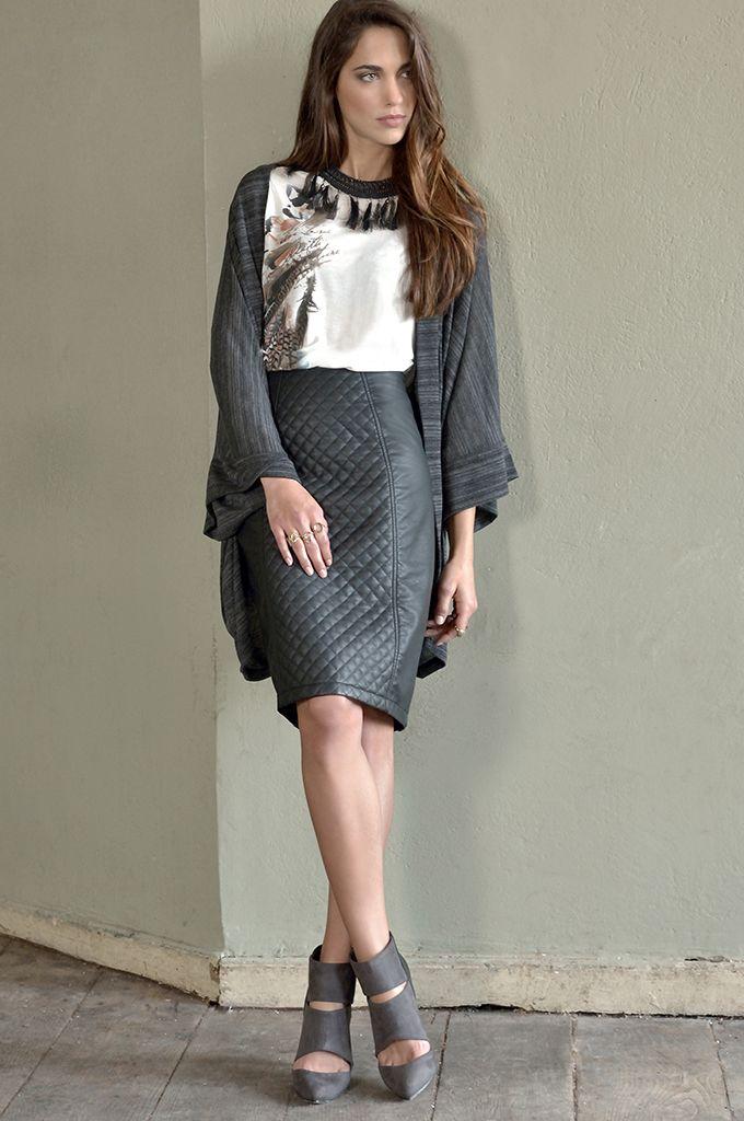 Sarah Lawrence - melanged oversized open placket cardigan, 3/4 sleeve printed blouse, leatheret pencil skirt.