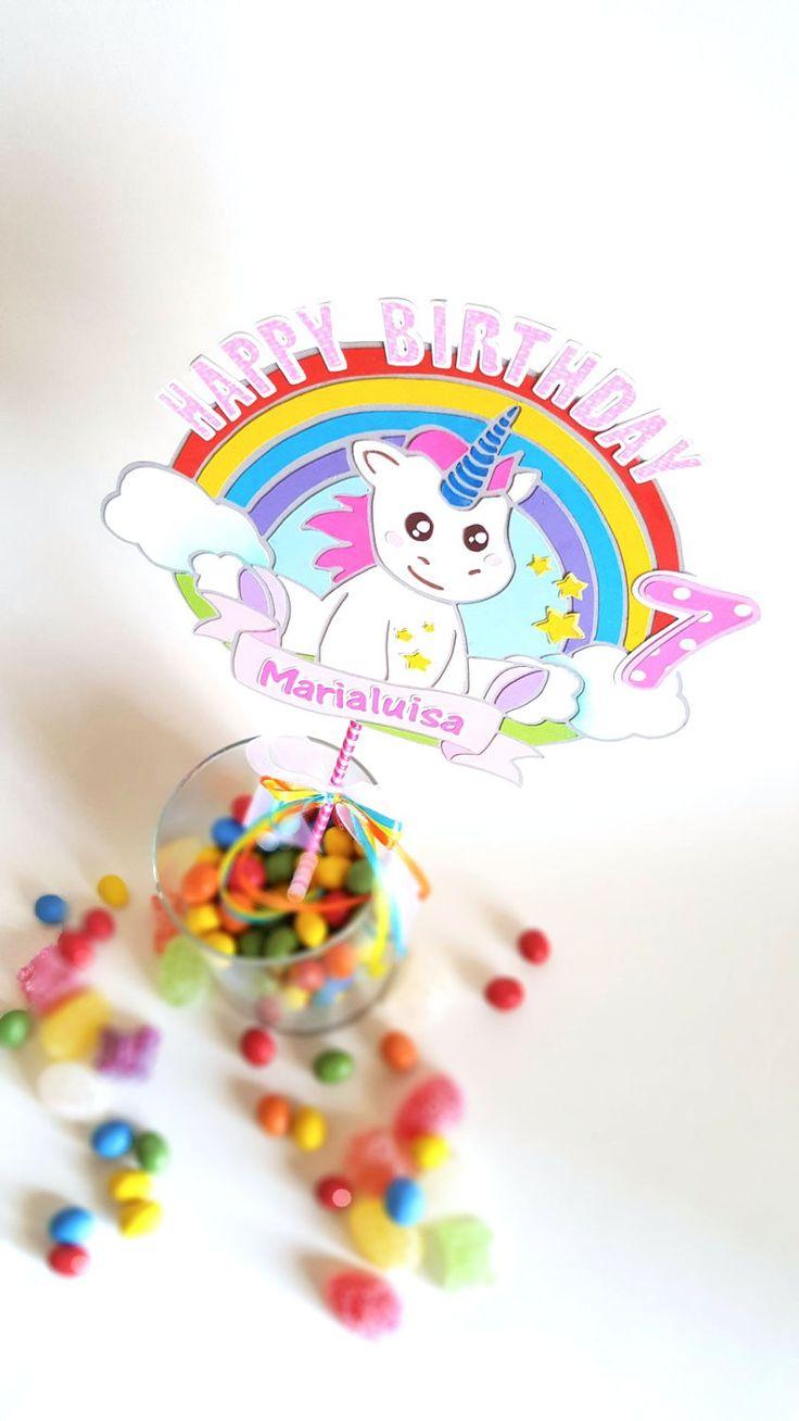 Cake topper Unicorn Rainbow di DaniloCreations su Etsy