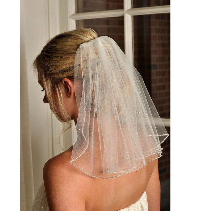 One Tier Shoulder Length Bridal Veil With Comb Beaded Edge Tered Crystals Short Soft Tulle