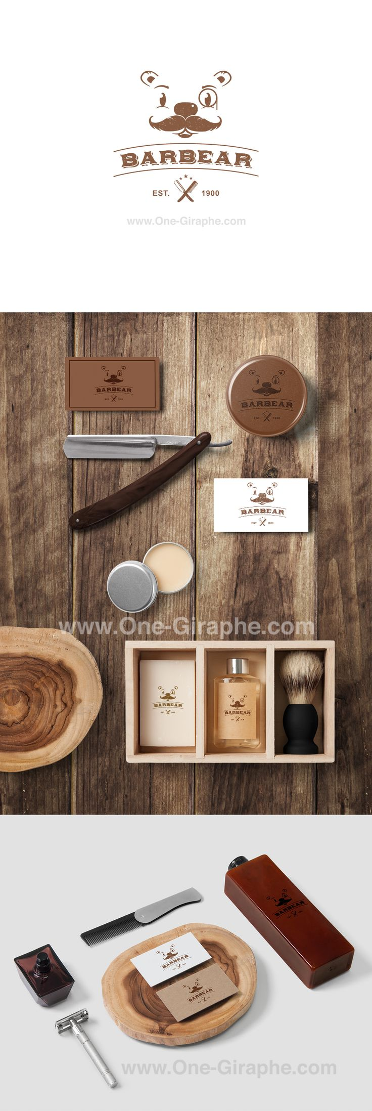 www.One-Giraphe.com #barbear #bear #barber #logo #brandidentity #design #logodesign #graphic #graphicdesign #artdirector #branding Barbear - Branding for Creative & Design for sale! - Logo ( color variations and black / white ) + business card design ( 2 sides ) as bonus. Format files: eps, pdf, png, jpg or any other at request. Order now at: onegiraphe@gmail.com #cosmetic #cosmetics #packaging #thedieline #bear #teddy #wood