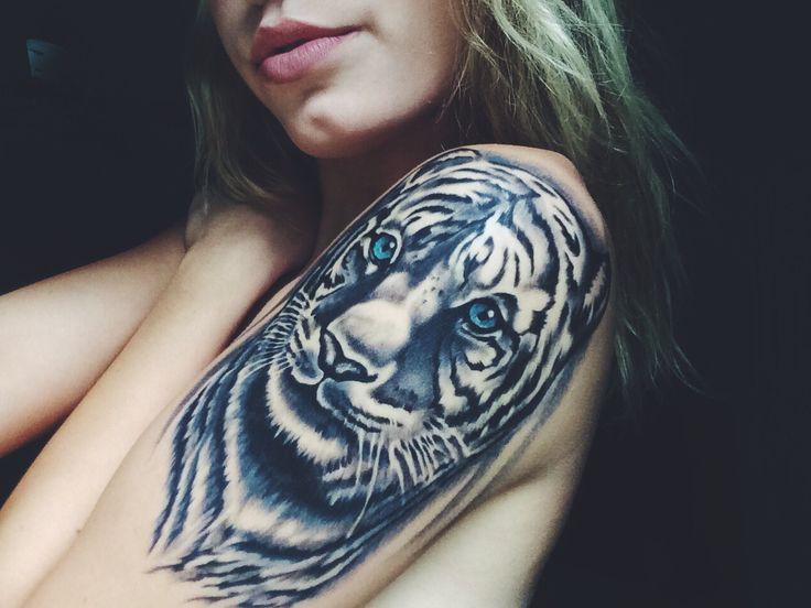 #Grey-Wash, #Realism, #Tiger #tattoo - White tiger