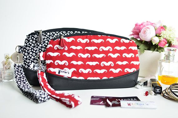 Red black wristlet clutch Red mustaches and black faux