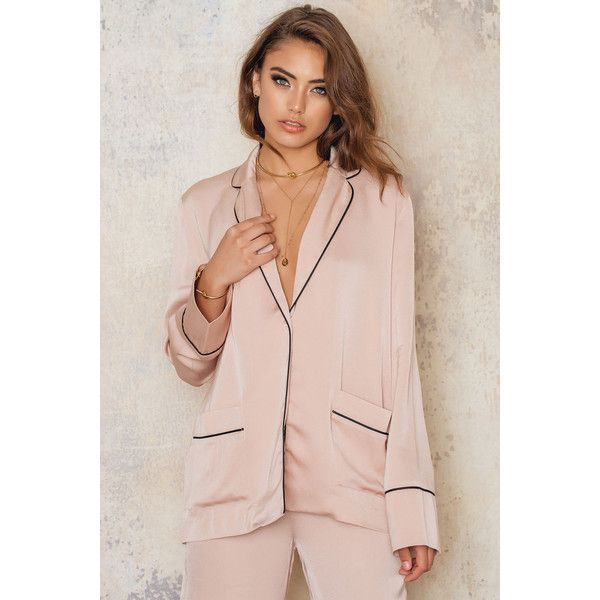 NA-KD Exclusive Contrast Blazer ($83) ❤ liked on Polyvore featuring outerwear, jackets, blazers, dusty light pink, pink blazer, pink blazer jacket, light pink jacket, blazer jacket and light pink blazer