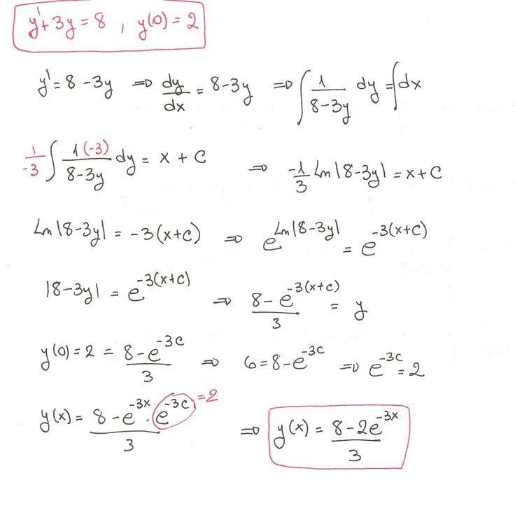 Solución del ejercicio 5 de Ecuaciones Diferenciales de Variables Separadas